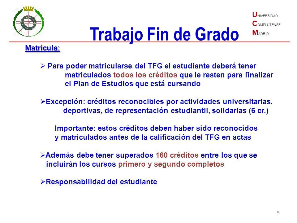 Trabajo Fin de Grado UNIVERSIDAD COMPLUTENSE MADRID Matrícula: