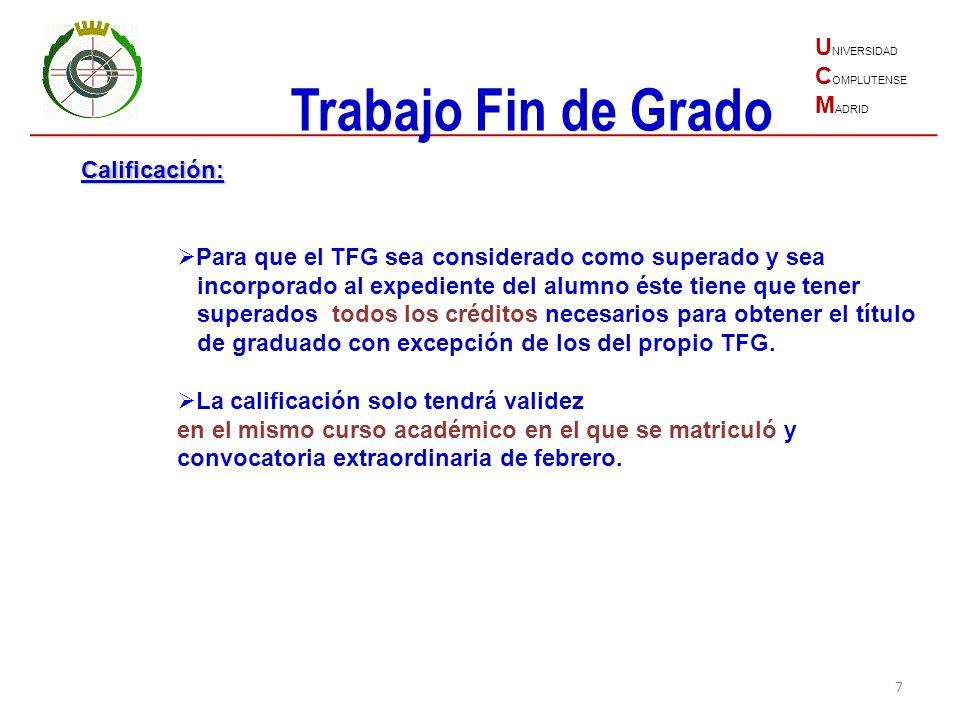 Trabajo Fin de Grado UNIVERSIDAD COMPLUTENSE MADRID Calificación: