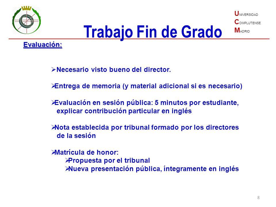 Trabajo Fin de Grado UNIVERSIDAD COMPLUTENSE MADRID Evaluación: