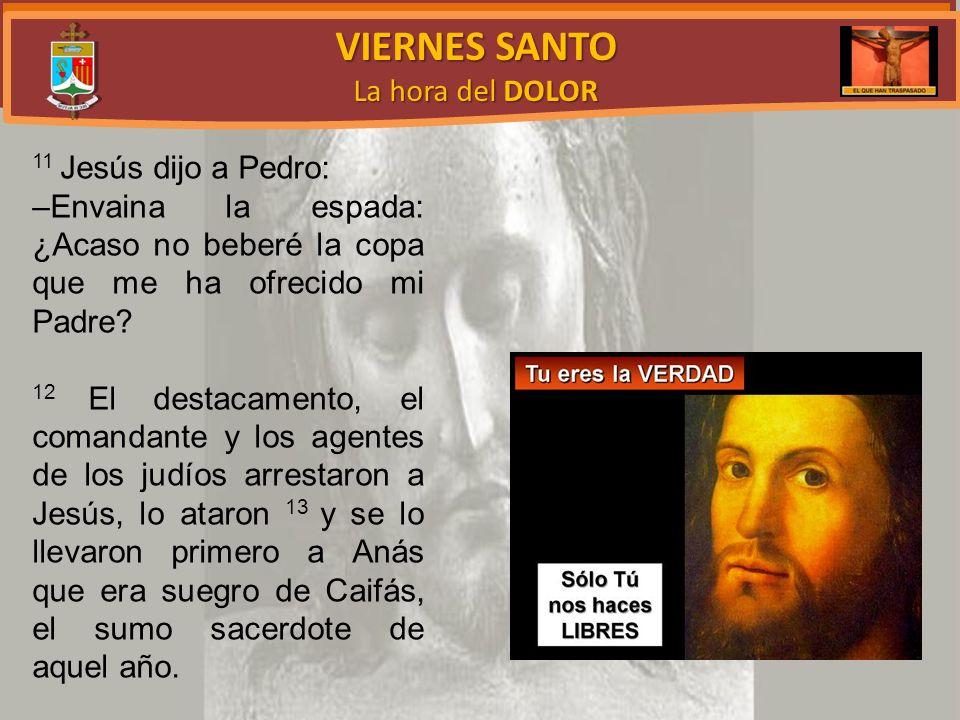 VIERNES SANTO La hora del DOLOR 11 Jesús dijo a Pedro: