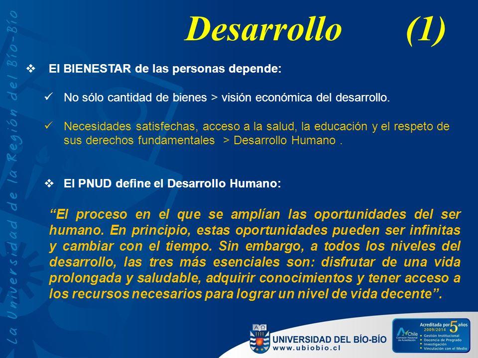 Desarrollo (1) El BIENESTAR de las personas depende: No sólo cantidad de bienes > visión económica del desarrollo.