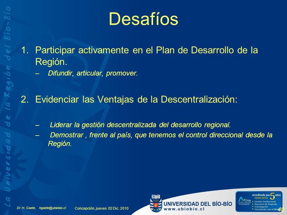 Desafíos Participar activamente en el Plan de Desarrollo de la Región.