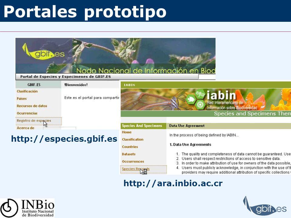 Portales prototipo http://especies.gbif.es http://ara.inbio.ac.cr