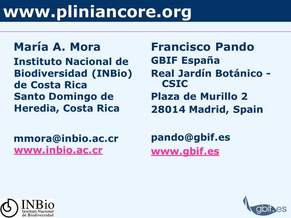 www.pliniancore.org María A. Mora Francisco Pando