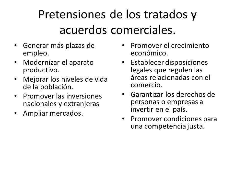 Pretensiones de los tratados y acuerdos comerciales.