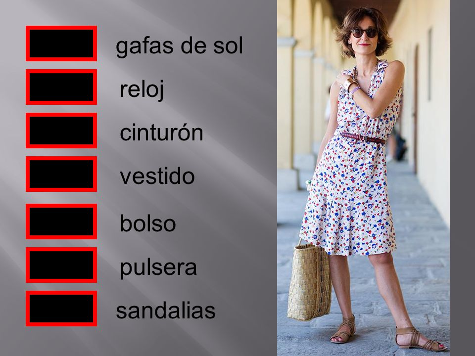 gafas de sol reloj cinturón vestido bolso pulsera sandalias
