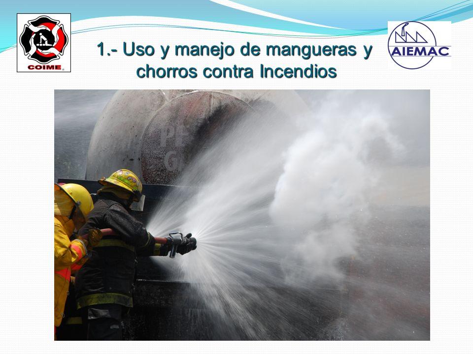 1.- Uso y manejo de mangueras y chorros contra Incendios