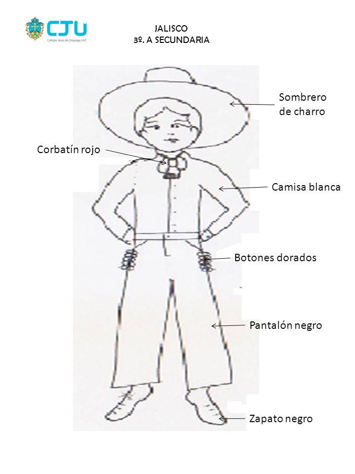 Sombrero de charro Corbatín rojo Camisa blanca Botones dorados