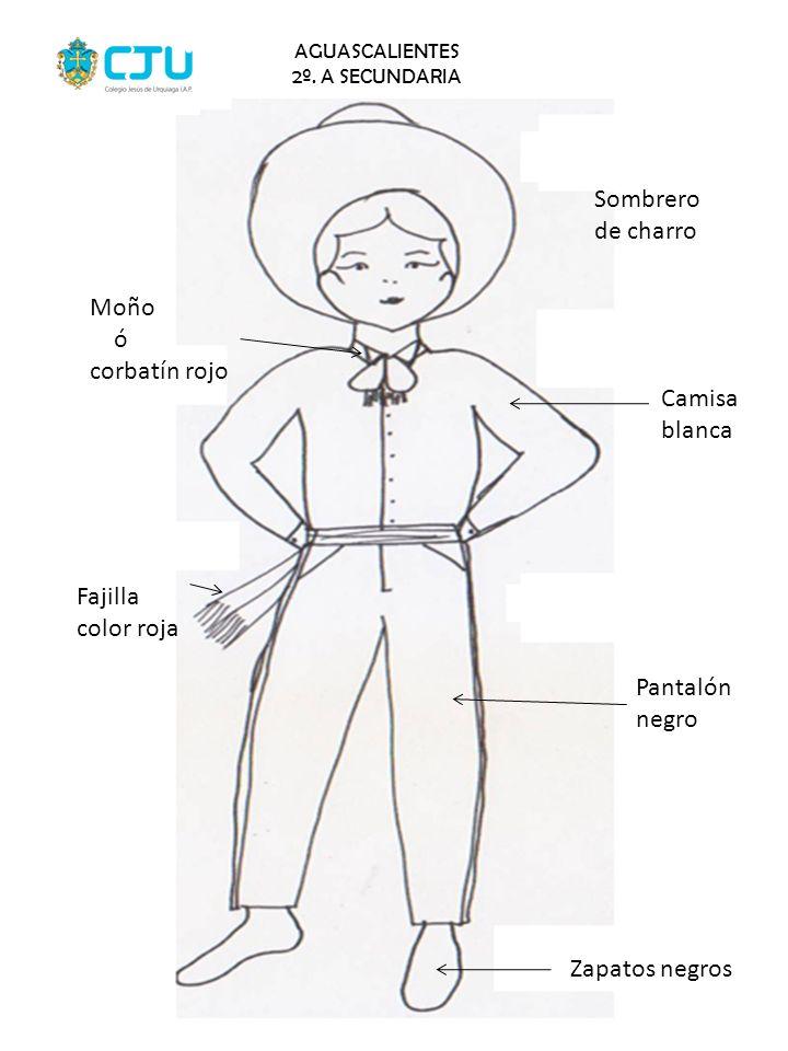 Sombrero de charro Moño ó corbatín rojo Camisa blanca Fajilla