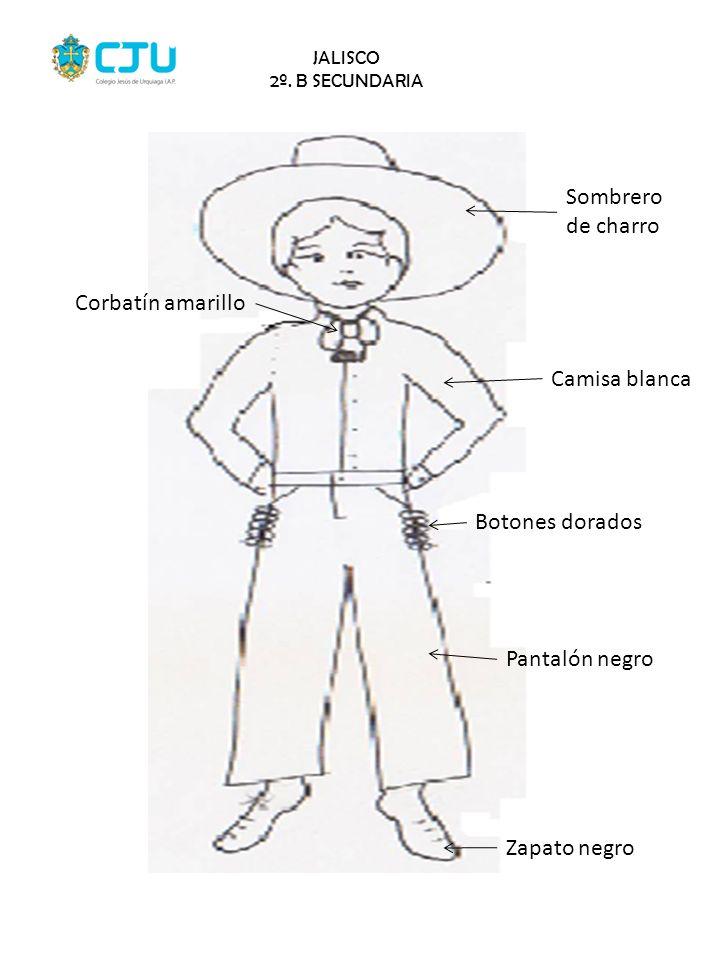 Sombrero de charro Corbatín amarillo Camisa blanca Botones dorados