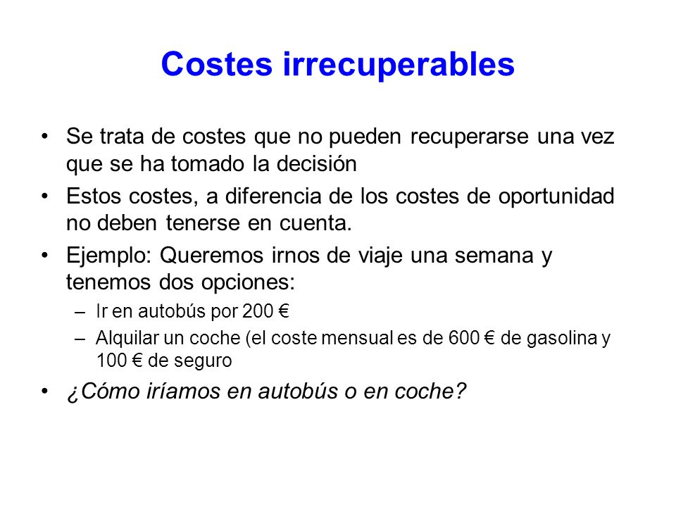 Costes irrecuperables