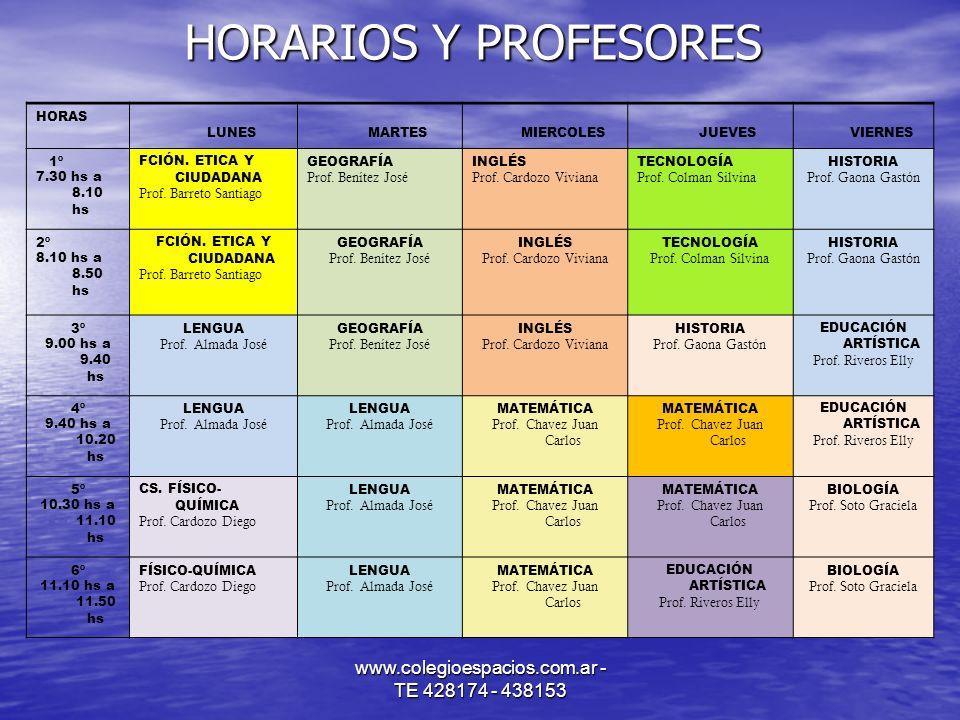 HORARIOS Y PROFESORES www.colegioespacios.com.ar - TE 428174 - 438153