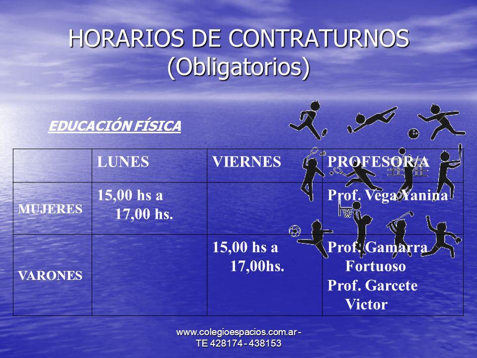 HORARIOS DE CONTRATURNOS (Obligatorios)