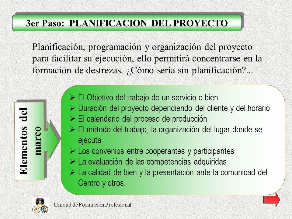 3er Paso: PLANIFICACION DEL PROYECTO