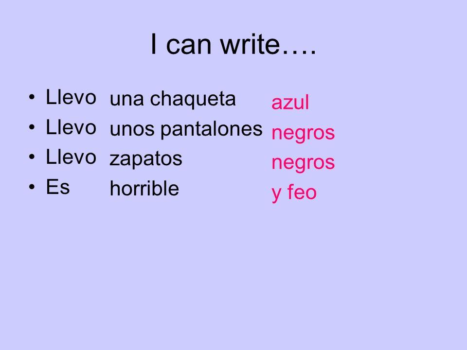 I can write…. Llevo una chaqueta azul unos pantalones negros zapatos