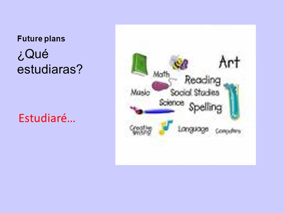 Future plans ¿Qué estudiaras Estudiaré…