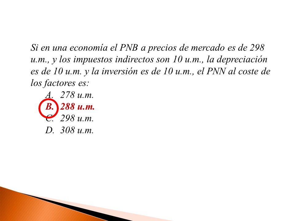 Si en una economía el PNB a precios de mercado es de 298 u. m