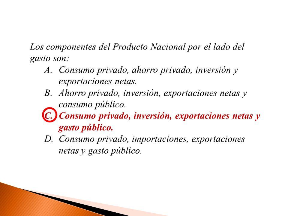 Los componentes del Producto Nacional por el lado del gasto son: