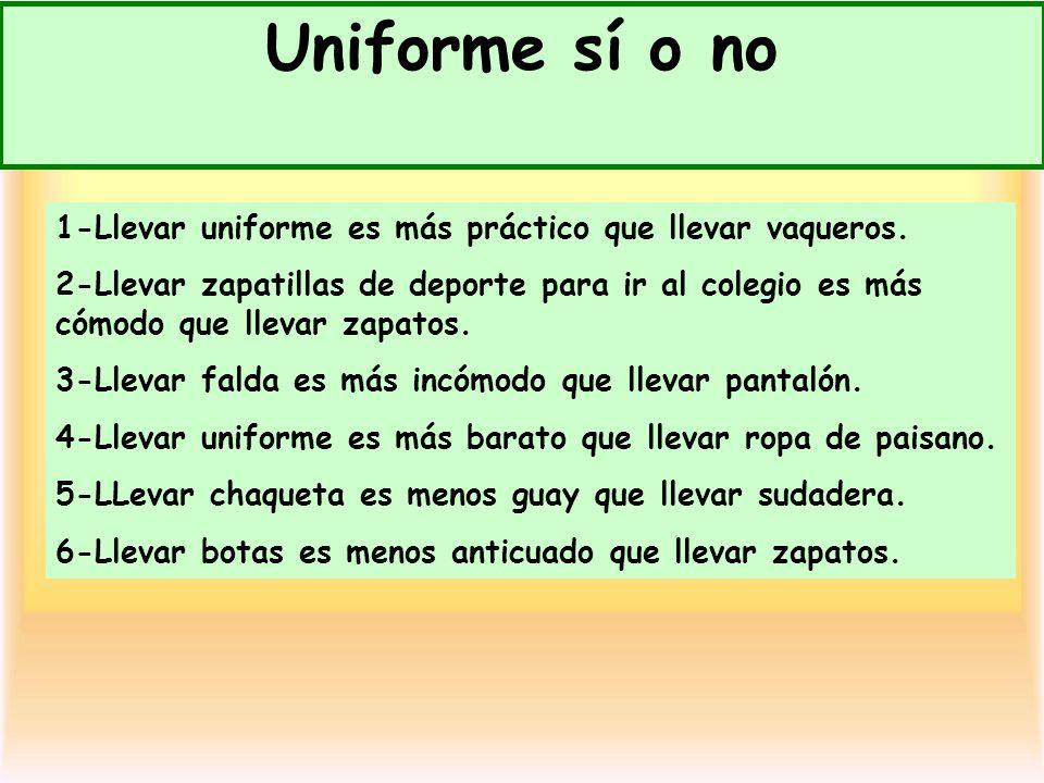 Uniforme sí o no11/11/12. 1-Llevar uniforme es más práctico que llevar vaqueros.