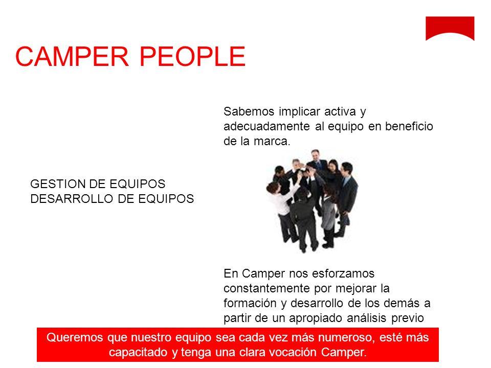 CAMPER PEOPLE Sabemos implicar activa y adecuadamente al equipo en beneficio de la marca.