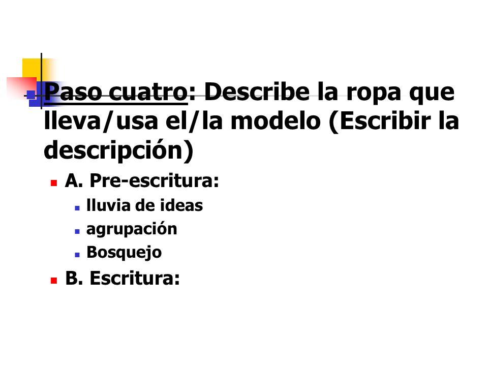 Paso cuatro: Describe la ropa que lleva/usa el/la modelo (Escribir la descripción)
