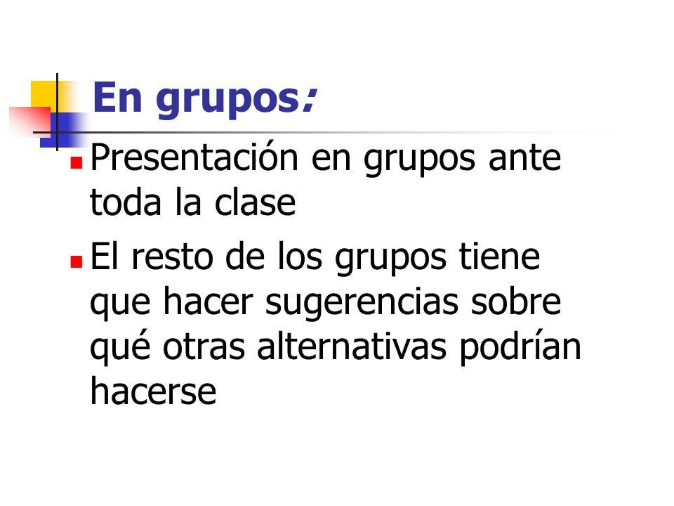 En grupos: Presentación en grupos ante toda la clase