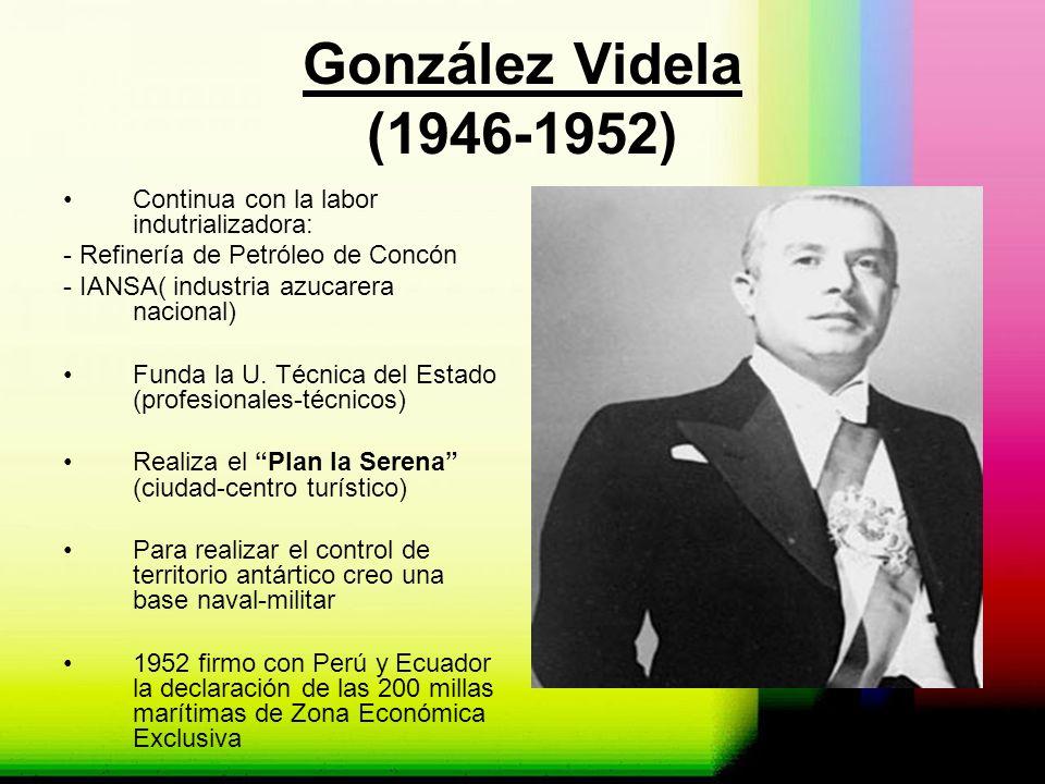 González Videla (1946-1952) Continua con la labor indutrializadora: