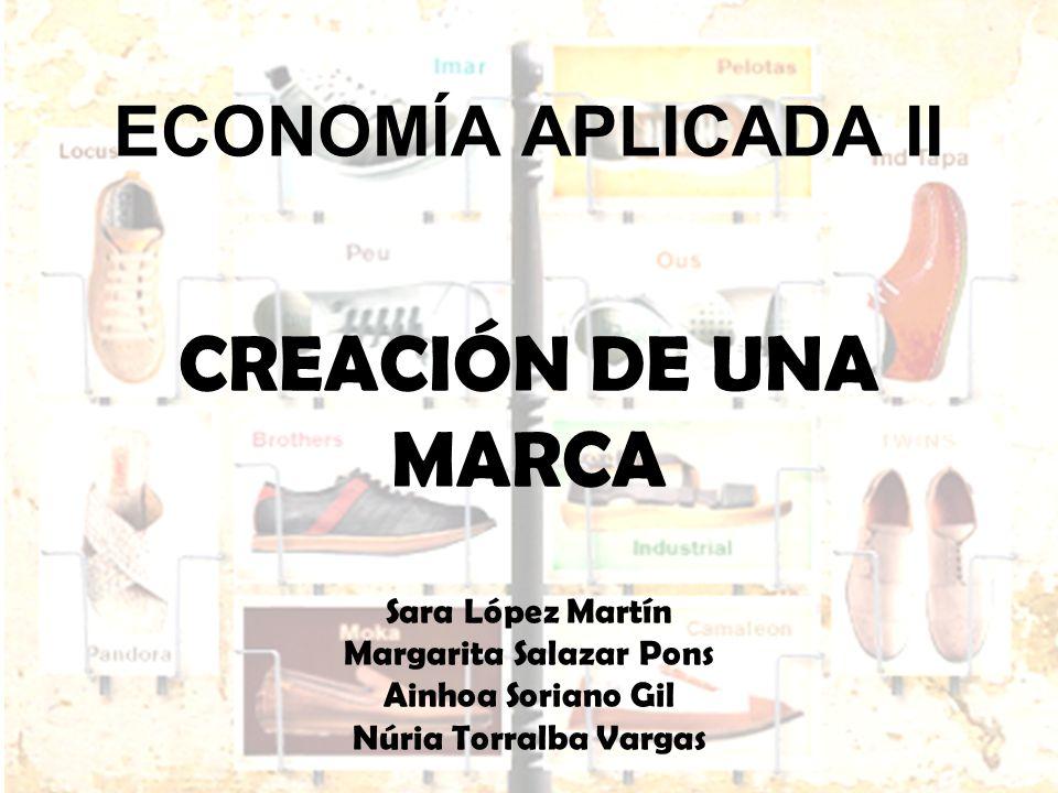 ECONOMÍA APLICADA II ECONOMÍA APLICADA II CREACIÓN DE UNA MARCA Sara López Martín Margarita Salazar Pons Ainhoa Soriano Gil Núria Torralba Vargas