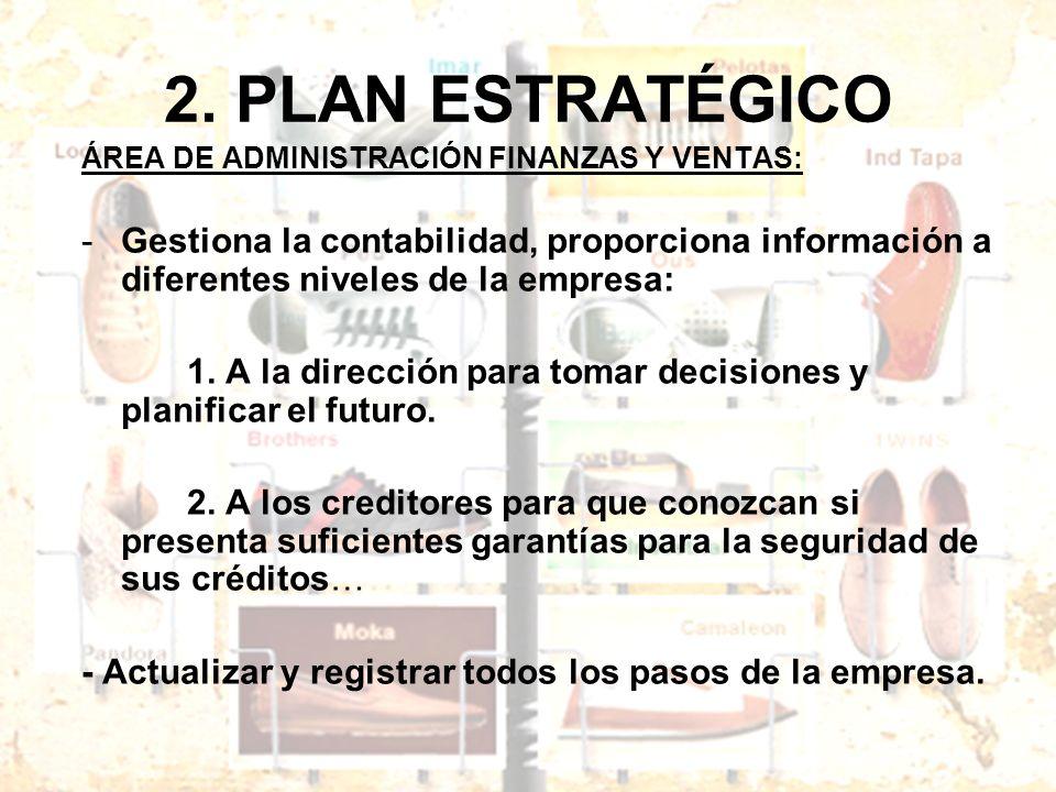 2. PLAN ESTRATÉGICO ÁREA DE ADMINISTRACIÓN FINANZAS Y VENTAS: Gestiona la contabilidad, proporciona información a diferentes niveles de la empresa: