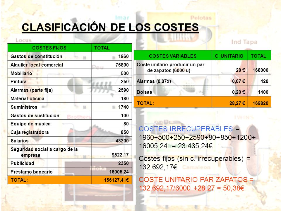 CLASIFICACIÓN DE LOS COSTES