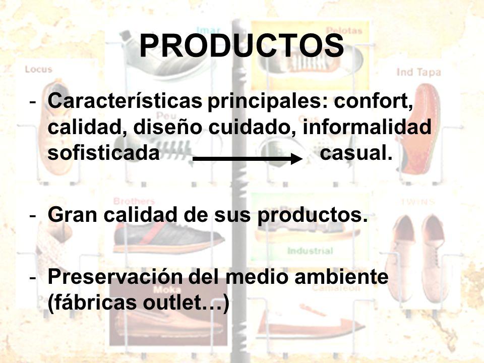 PRODUCTOS Características principales: confort, calidad, diseño cuidado, informalidad sofisticada casual.