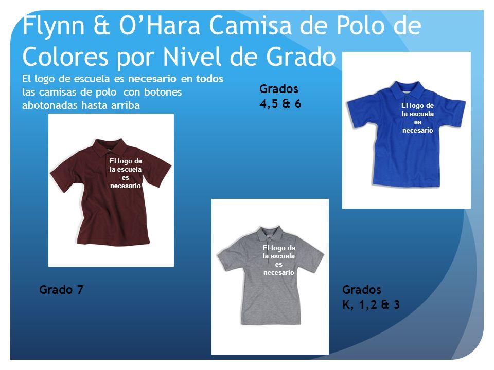Flynn & O'Hara Camisa de Polo de Colores por Nivel de Grado El logo de escuela es necesario en todos las camisas de polo con botones abotonadas hasta arriba