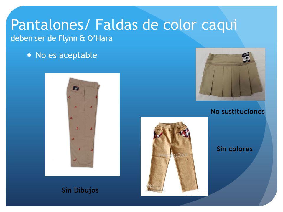 Pantalones/ Faldas de color caqui deben ser de Flynn & O'Hara