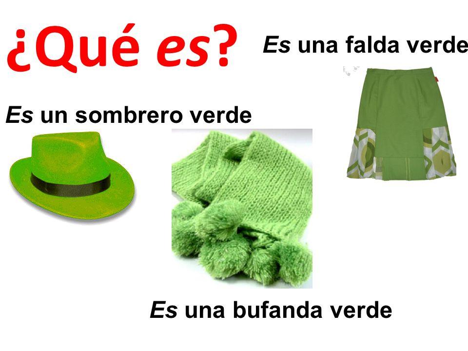 ¿Qué es Es una falda verde Es un sombrero verde Es una bufanda verde