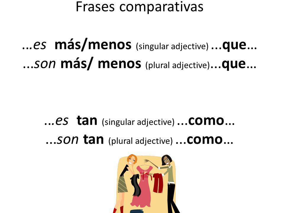 Frases comparativas. es más/menos (singular adjective). que…