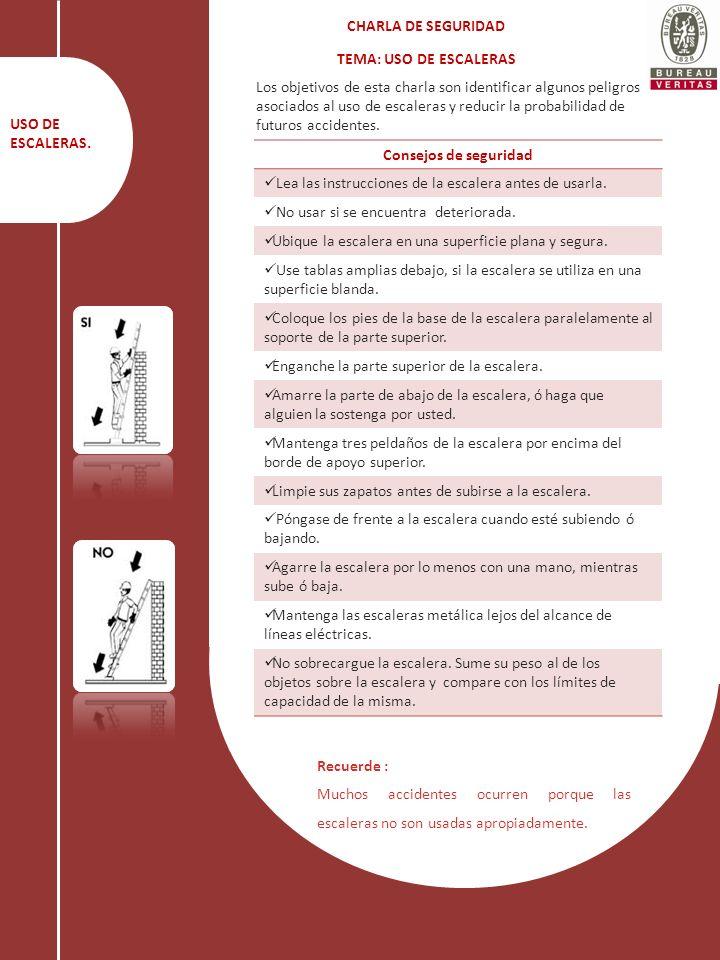CHARLA DE SEGURIDAD TEMA: USO DE ESCALERAS.