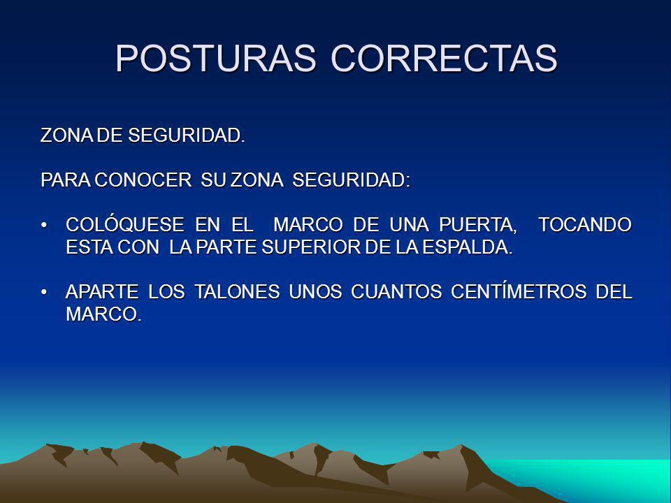 POSTURAS CORRECTAS ZONA DE SEGURIDAD. PARA CONOCER SU ZONA SEGURIDAD: