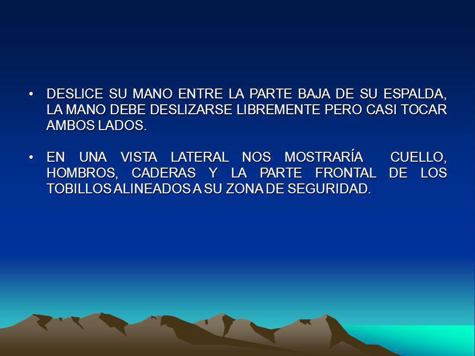 DESLICE SU MANO ENTRE LA PARTE BAJA DE SU ESPALDA, LA MANO DEBE DESLIZARSE LIBREMENTE PERO CASI TOCAR AMBOS LADOS.