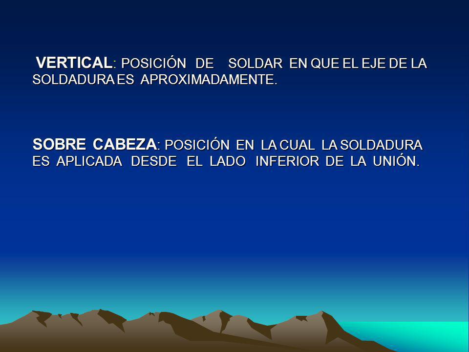 VERTICAL: POSICIÓN DE SOLDAR EN QUE EL EJE DE LA SOLDADURA ES APROXIMADAMENTE.