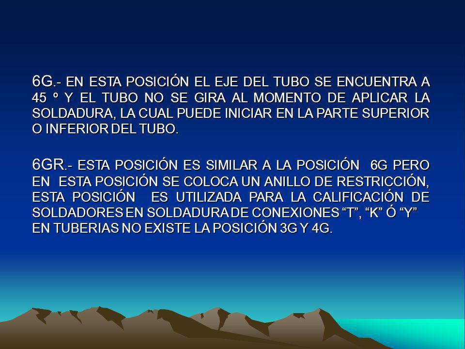 6G.- EN ESTA POSICIÓN EL EJE DEL TUBO SE ENCUENTRA A 45 º Y EL TUBO NO SE GIRA AL MOMENTO DE APLICAR LA SOLDADURA, LA CUAL PUEDE INICIAR EN LA PARTE SUPERIOR O INFERIOR DEL TUBO.