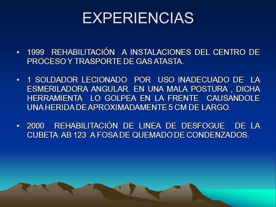 EXPERIENCIAS 1999 REHABILITACIÓN A INSTALACIONES DEL CENTRO DE PROCESO Y TRASPORTE DE GAS ATASTA.