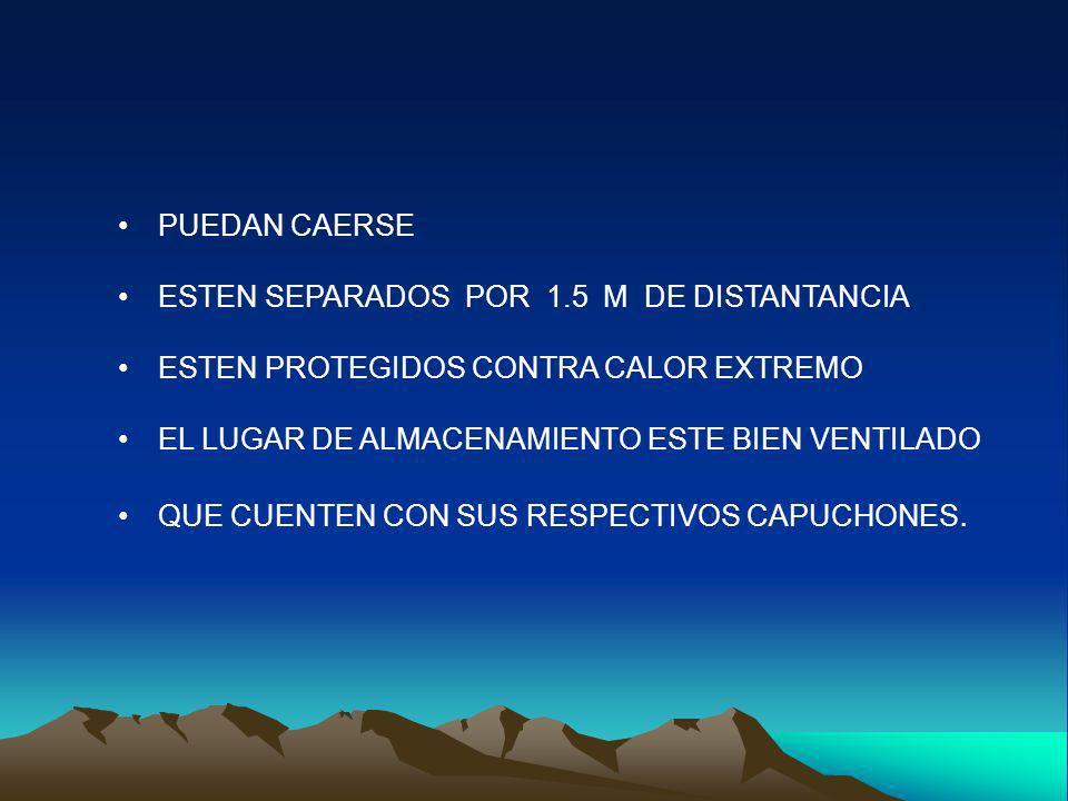 PUEDAN CAERSE ESTEN SEPARADOS POR 1.5 M DE DISTANTANCIA. ESTEN PROTEGIDOS CONTRA CALOR EXTREMO.