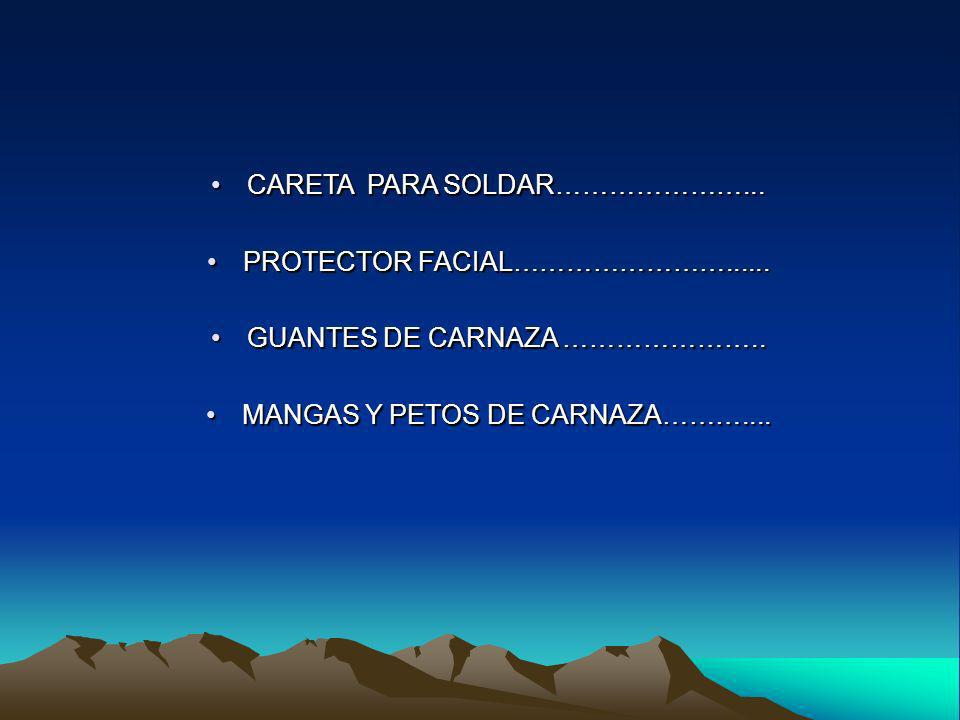 CARETA PARA SOLDAR…………………... PROTECTOR FACIAL……………………......