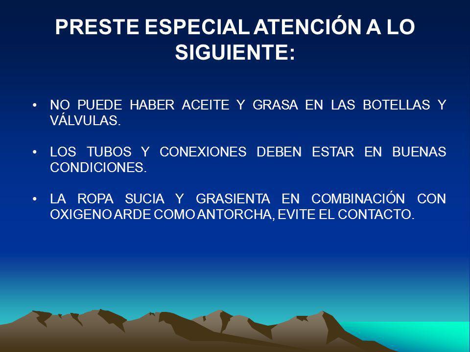 PRESTE ESPECIAL ATENCIÓN A LO SIGUIENTE: