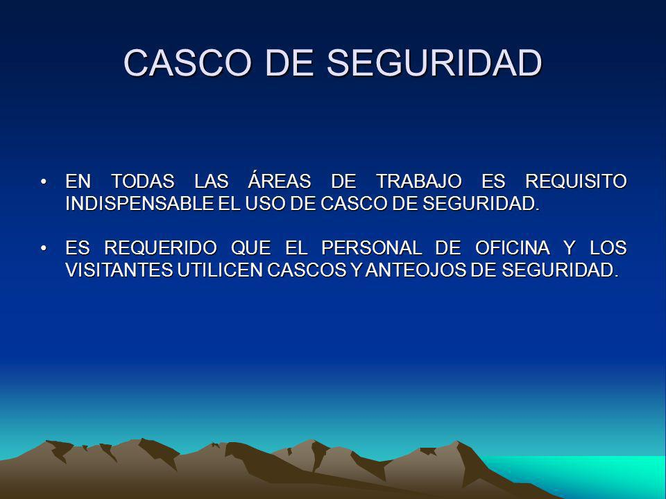CASCO DE SEGURIDAD EN TODAS LAS ÁREAS DE TRABAJO ES REQUISITO INDISPENSABLE EL USO DE CASCO DE SEGURIDAD.