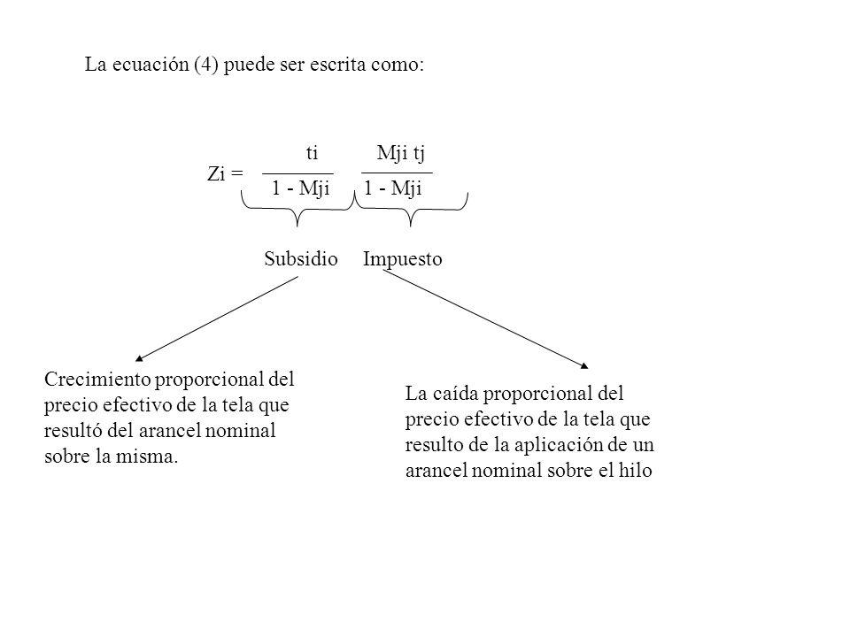 La ecuación (4) puede ser escrita como: