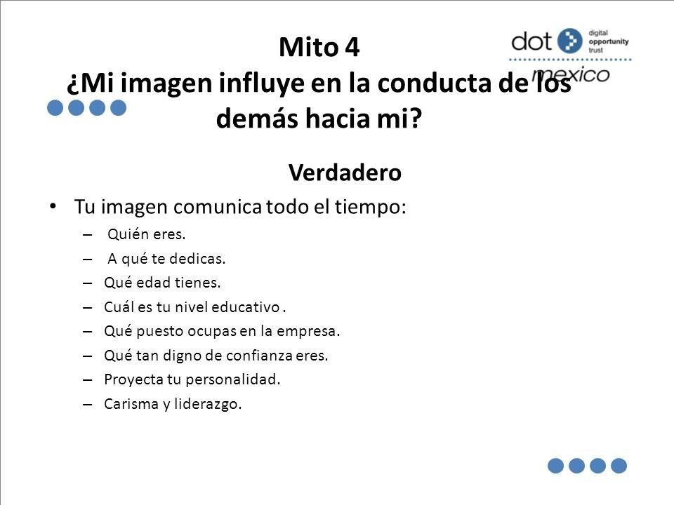 Mito 4 ¿Mi imagen influye en la conducta de los demás hacia mi
