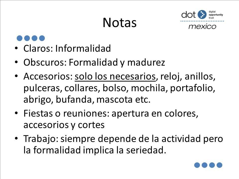 Notas Claros: Informalidad Obscuros: Formalidad y madurez