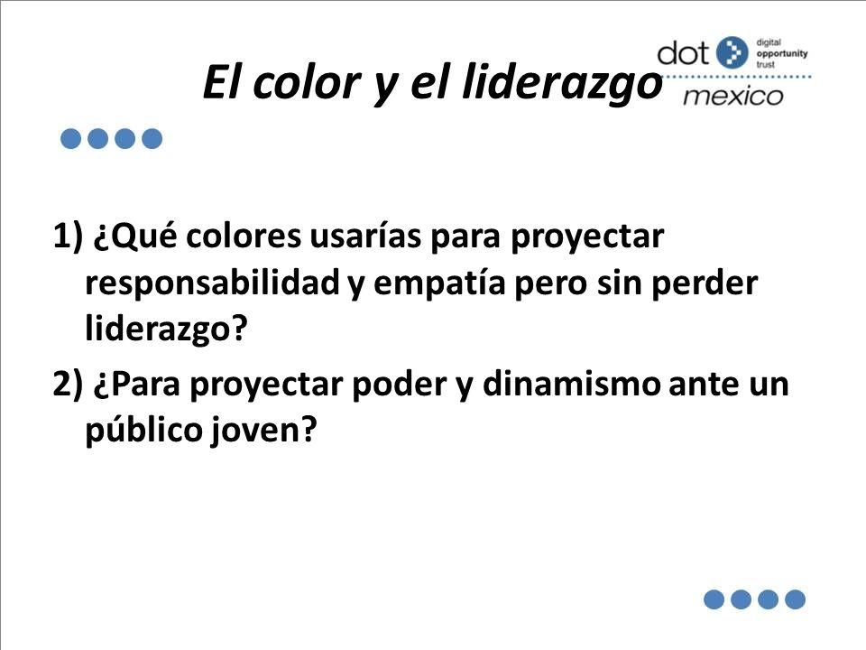 El color y el liderazgo 1) ¿Qué colores usarías para proyectar responsabilidad y empatía pero sin perder liderazgo