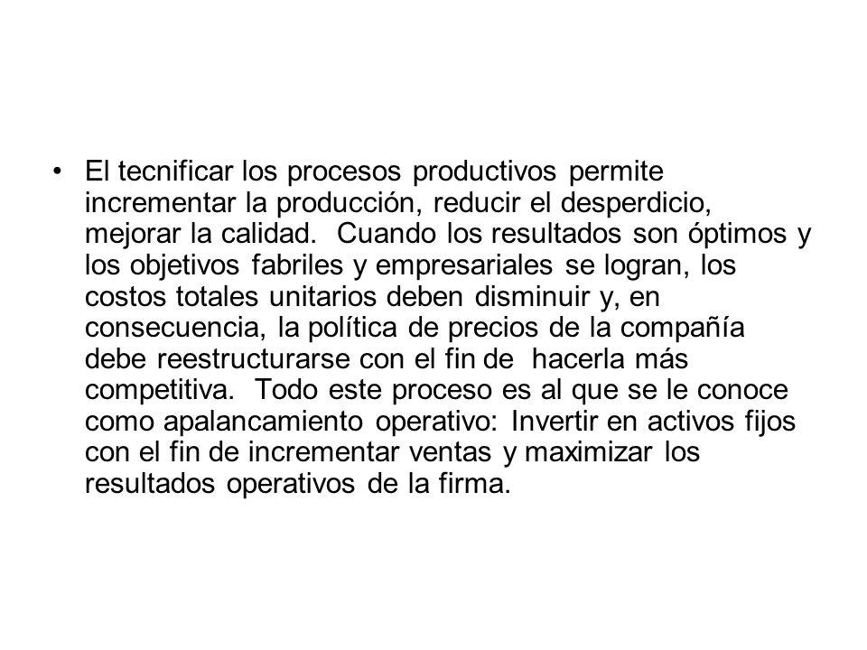 El tecnificar los procesos productivos permite incrementar la producción, reducir el desperdicio, mejorar la calidad. Cuando los resultados son óptimos y los objetivos fabriles y empresariales se logran, los costos totales unitarios deben disminuir y, en consecuencia, la política de precios de la compañía debe reestructurarse con el fin de hacerla más competitiva. Todo este proceso es al que se le conoce como apalancamiento operativo: Invertir en activos fijos con el fin de incrementar ventas y maximizar los resultados operativos de la firma.